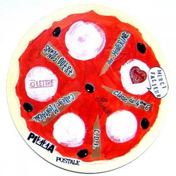 pizza postale,art postal,mail art,peinture,collage,courrier,atelier