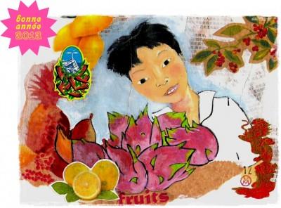 voeux,bonne année,couleurs,fruits,asie,collage,illustration,2012